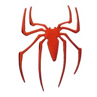 3D Tilted Left Metallic Red Spider